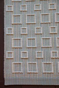 "very nice -geometric design handwoven wool rug, loom woven, multi blue-greens and cream, 28""x45"" area rug, carpet, hand weaving FitchStudioWeavers. $350.00, via Etsy."