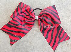 3 Width Cheer Bow 7x6.5 Texas Size Cheer by JustImagineThatBows, $5.50  Glitter Zebra Red w/Black