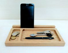 Wooden catchall and docking station, desk organize, handcrafted in oak wood, valet tray for the home and office