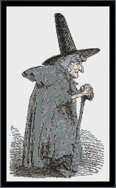 Witch cross stitch pattern