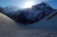 Photo: Morning sun above Machapuchare, Nepal
