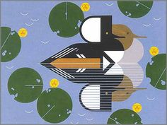 Charley Harper - Merganser Ducks - http://galleryone.com/fineart/waterfowl/HARPL1.html