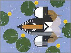 Charley Harper - Merganser Ducks - http://galleryone.com/fineart/waterfowl/HARPL1.html