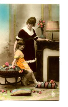 Cute-Little-Girl-w-Mom-Fireplace-Hand-Colored-RPPC-Real-Photo-Vintage-Postcard