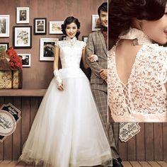 White Lace Cap Sleeve Vintage Cheongsam Style Wedding Bridal Dress Gown SKU-120113