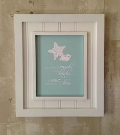 Shabby chic beach quote - star fish and sea shells on ocean blue print. Customize color. Custom designer wall decor.