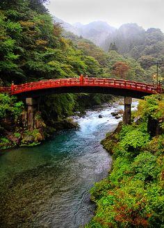 bluepueblo: Red Bridge, Nikko, Japan photo via larks