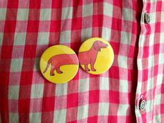 Sausage Dog Badges, Wiener Dog Button Badges, dachshund dog buttons, cute sausage dog pin button badges, funny badge pack, party bag fillers by hello DODO shop on Etsy