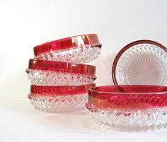 Vintage Indiana glass bowls.  Crazy over the top diamond point pattern with rich cranberry rims.