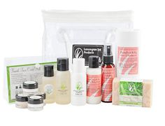 Kindness Essentials gift set: Inspired by a Lemongrass Spa Consultant wanting to help women in need-Grapefruit Lily Spa Getaway Set (2 ounce lotion, spritz, shampoo & conditioner) a Grapefruit Lily Deodorant, a Travel Face Kit for Normal Skin (trial jars of Cleansing Gel, Facial Moisturizer, Eye Creme, Pomegranate Facial Polish & Facial Mask) and a bar of Oatmeal Milk & Honey Bar Soap. www.ourlemongrassspa.com/seaspa