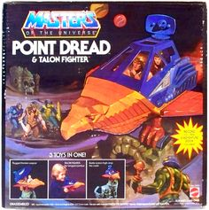The box for the Masters of the Universe Point Dread & Talon Fighter (including vinyl record) 1980s Toys, Retro Toys, Vintage Toys, Antique Toys, Gi Joe, He Man Figures, Best 90s Cartoons, Old School Toys, Cartoon Toys
