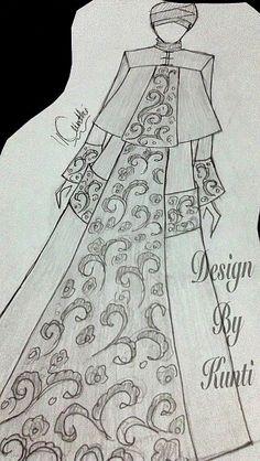Gambar Sketsa Desain Gaun Pesta