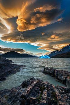 Ice & fire II - Torres del Paine National Park, Torres de Paine, Chile.