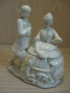 Figurine Statue Trinket Box Victorian Lady & Man Dancing White Gold Design 1950-1960