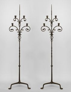 PAIR of American Victorian wrought iron 4 light candle stands with scrolling foliate arms supported on a tripod base (attributed to SAMUEL YELLIN) (PRICED AS PAIR). Victorian Floor Lamps, Antique Floor Lamps, Antique Lighting, Victorian Design, Victorian Fashion, Vintage Iron, Candle Stand, Vintage Lamps, Wrought Iron