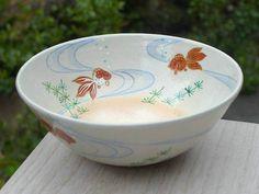 京焼清水焼平茶碗 金魚
