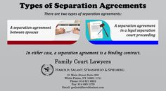 There are two types of separation agreements: a separation agreement between spouses and a separation agreement from a legal separation court proceeding.