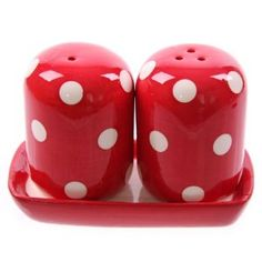 Ceramic Polka Dot Red & White Salt & Pepper Set: Amazon.co.uk: Kitchen & Home