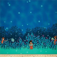 Michael Miller Wee Wander Summer Night Lights Double Border Twilight - Discount Designer Fabric -  Fabric.com