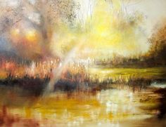 ARTFINDER: A bright winter morning by Kimberley  Harris - Winter sun falls upon the water meadow river creating the most golden of glows.  This unique artwork has painted sides and has been varnished on drying ready...