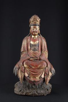"""Wooden statue of Guanyin godess in Meditation  19th Century, China - Wood with Gilt  19"""" x 10"""" x 8""""( 48.26 x 25.4 x 20.32 cm) (H x W x D)"""