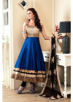 Anarkali Salwar Suit : white brocade & royal blue cotton silk anarkali with zari & stone work