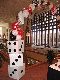 Casino Night Party Decorations make your own oversized dice! | photo backgrounds, buffet and