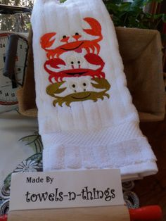 Embroidered White Cotton Loop Hand Towel by TheRedRobinsRoost, $8.50