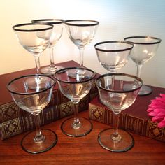 Set of eight vintage small wine or cordial glasses with platinum rims by FromTheSeller on Etsy