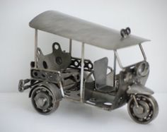 Tuk Tuk ( 3 wheel car ) metal model hand made home decoration character art decorative arts gift metal sculpture recycled model vintage