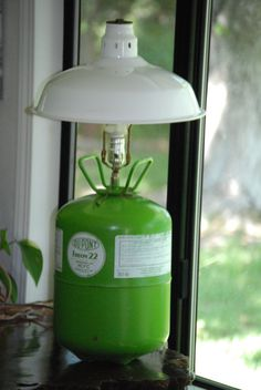 Table Lamp Upcycled from Freon Can and Shop by CatkinsCreations, $58.99