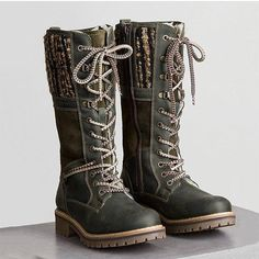 Womens Waterproof Knitted Fabric Casual Mid-calf Warm Boots - Green / US size Warm Boots, Brown Boots, Winter Boots, Fall Winter, Low Heel Boots, Heeled Boots, Bootie Boots, Buckle Boots, Combat Boots