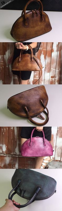 Handmade Leather handbag shoulder bag brown purple for women