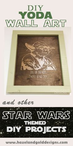 Happy Star Wars Day! This is one of my favorite days of the year and I'm celebrating by bringing you a simple DIY Yoda Wall Art project. --Star wars, diy projects, star wars crafts, fan art, yoda art, fandom, woodworking, vinyl stencil, diy yoda craft, diy star wars crafts