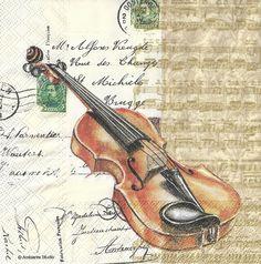 Vintage Violin Postcard Script Shabby Chic Decoupage
