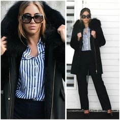 Fashion Statements by Q || The only reason why I love winter ||   #ootd #outfit #blog #blogger #fashionblog #fashionblogger #black #coat #fur #gucci #sunglasses #prada #highheels #zara #stripes