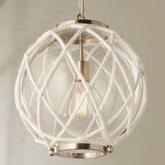 White Rope Globe Pendant