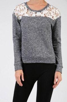 CLEARANCE Crochet Trim Terry Sweatshirt