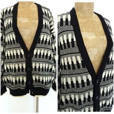 Vintage 80s Cardigan Sweater Size XLarge Hipster Retro Mens Preppy #RobertBruce…