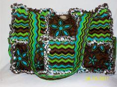 Brown Green Azua ZigZag Rag Quilt Diaper Bag Tote Purse
