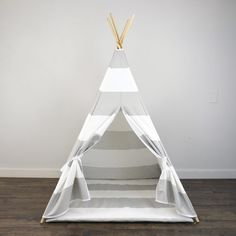 Kids Play Teepee and Play Mat in Light Gray and White Large Kids Play Teepee, Canvas Teepee, Kids Sleepover, Baby Boy Rooms, Kids Rooms, Childrens Gifts, Kids Room Design, Playroom Decor, Grey And White