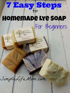 7 Easy Steps to Homemade Lye Soap for Beginners is an easy guide outlining what is needed and how to make cold processed lye soap for beginners. All natural: