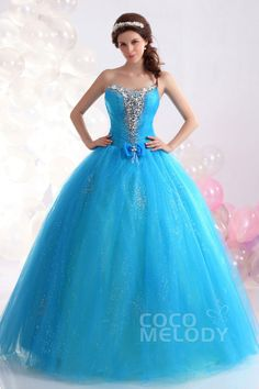 943d445893c   USD  199   Vintage Ball Gown Sweetheart Floor Length Tulle Sky Blue  Quinceanera Dress COUF13006