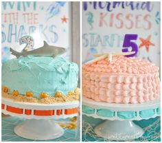 Here you'll find instructions, sources, and ideas for a shark party, mermaid party, or under the sea party. Sibling Birthday Parties, Combined Birthday Parties, Toddler Birthday Cakes, Shark Birthday Cakes, Joint Birthday Parties, Girls Birthday Party Themes, Mermaid Birthday, 3rd Birthday, Birthday Ideas
