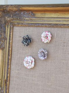 22x26 ornate shabby chic gold FRAMED BURLAP by TheCharmingWall, $125.00