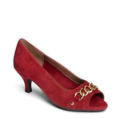 Aerosoles Women's Made of Honor Peep Toe Pump Shoes (Dark Red Suede)