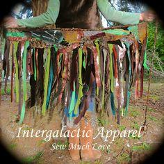 Woodland TatteReD Pixie Skirt, FeStiVaL tutu, TriBaL Clothing, Woodland Wrap Skirt from IntergalacticApparel on Etsy. Hippie Skirts, Boho Skirts, Tulle Skirts, Fairy Skirt, Fairy Dress, Festival Skirts, Festival Outfits, Festival Fashion, Larp