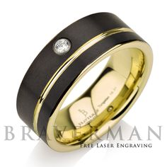 Black Tungsten Wedding Band,14k Yellow Gold, White Diamond Mens Wedding Band, Yellow Gold Stripe, Comfort Fit, 9mm, Black Wedding Bands by BravermanOren on Etsy