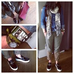 This outfit is so conservative it's creeping me out. #target #feed #denim shirt #zara scarf #hermes #cdc #watch #twilly #zara color blocked khaki pant #celine loafers #celine #trapeze bag #kicks #sneakers #msneakerpimp #blogger #style #fashion #instagood #wearingnow #whatiwore #ootd #pictureoftheday #photooftheday