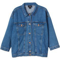 Monki Cathy denim jacket (475 GTQ) ❤ liked on Polyvore featuring outerwear, jackets, tops, coats & jackets, old indigo, blue denim jacket, oversized jean jackets, monki, blue jackets and oversized jacket